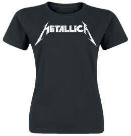 Metallica Textured Logo Girl-Shirt schwarz